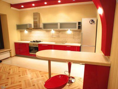 Прямая кухня с барной стойкой «Red Gloss»